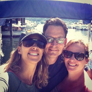 Me, Dominic and Shannon getting ready for our boat day!