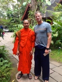 This visiting monk approached E at the Bhuping, the Royal vacation palace and made friends. He said he wanted to practice English but I think it was the pants.