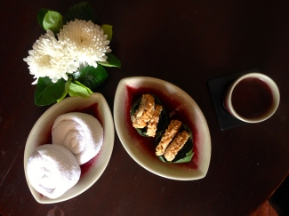 After massage treats, Fah Lanna Spa. Sweet cashew rice cakes in the middle are my fav.