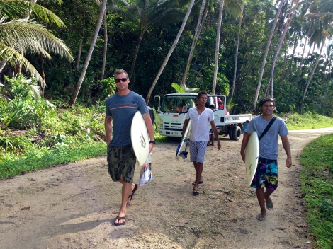 E on a surf mission with the boys