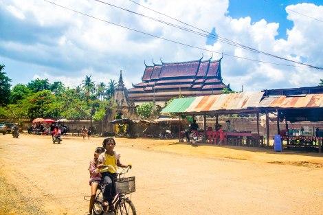 Kids on bikes near Wat Bo, Siem Reap