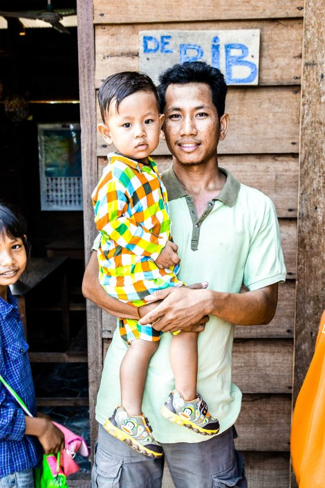 Angkor Tree School founder Sokhom Khit and his darling son.