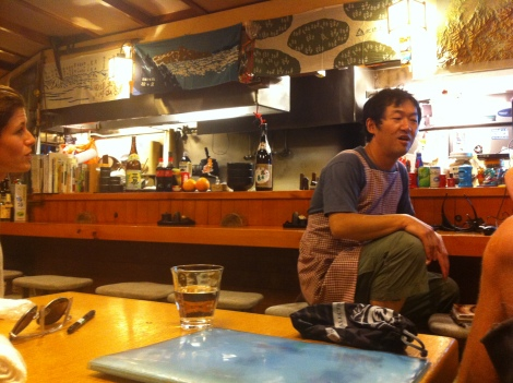 Bartender/owner of a local bar sharing his winter mountaineering stories with us.